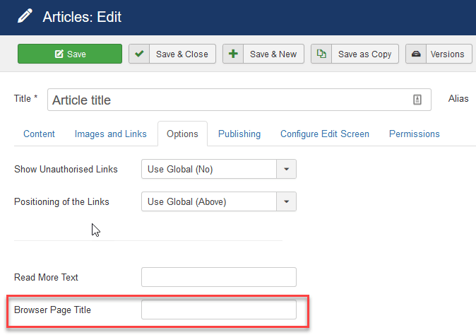browser page title in article joomla