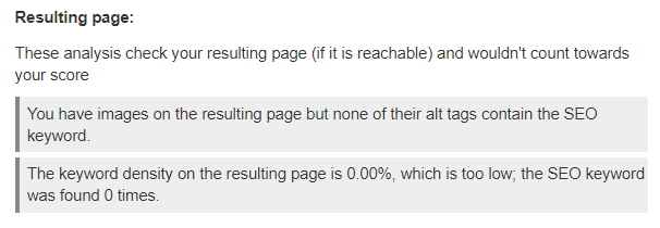 resulting page score